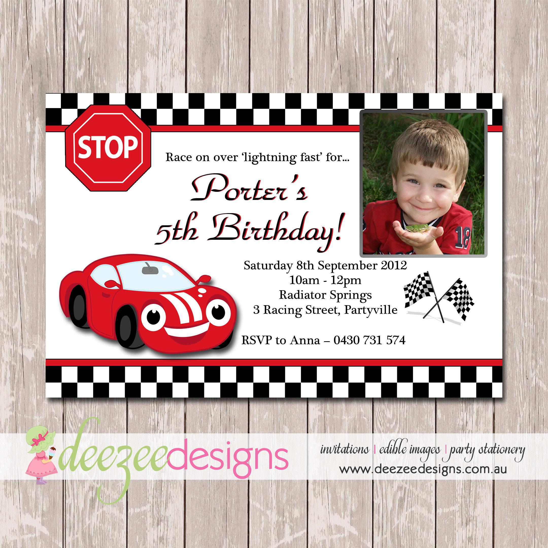 Racing Car Birthday Invitation with Photo YOU PRINT BD055B | Etsy
