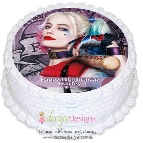 Harley Quinn personalizadas comestibles redondo glaseado Cake | Etsy
