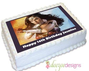 Wonderwoman A4 Edible Icing Cake Topper