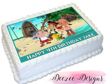 Jake and the Neverland Pirates Personalised A4 Edible Icing Cake Topper