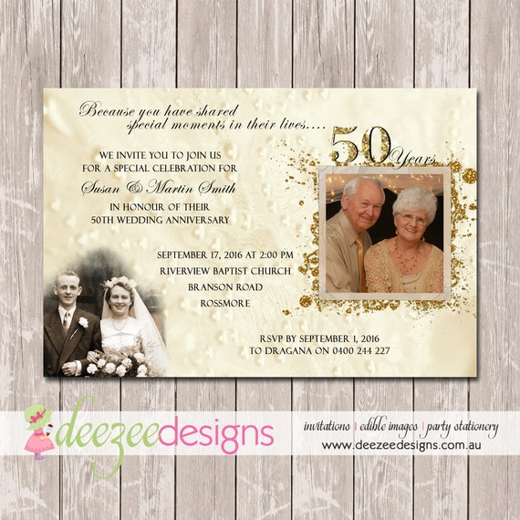 wedding anniversary invitation 50th golden you print etsy