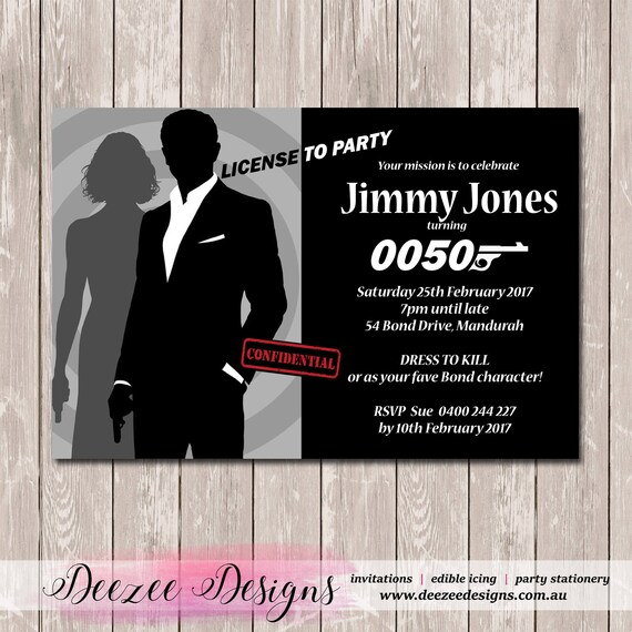 James bond 007 birthday invitation you print stopboris Images