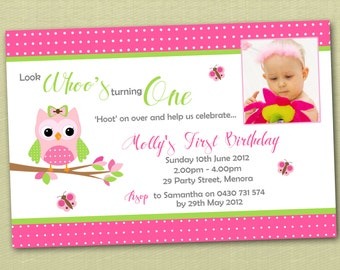 Photo Personalised Owl Birthday Invitations - You Print