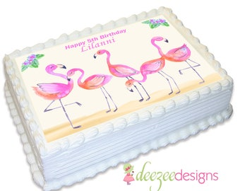 Pink Flamingo A4 Edible Icing Cake Topper - EI164A4