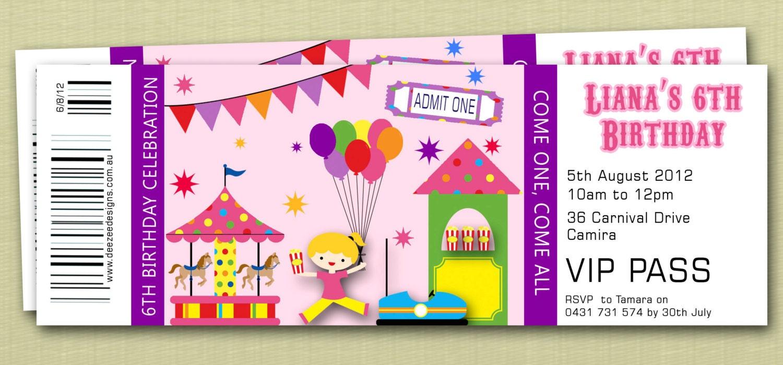 Ticket invitaciones de cumpleaños de estilo Circo carnaval
