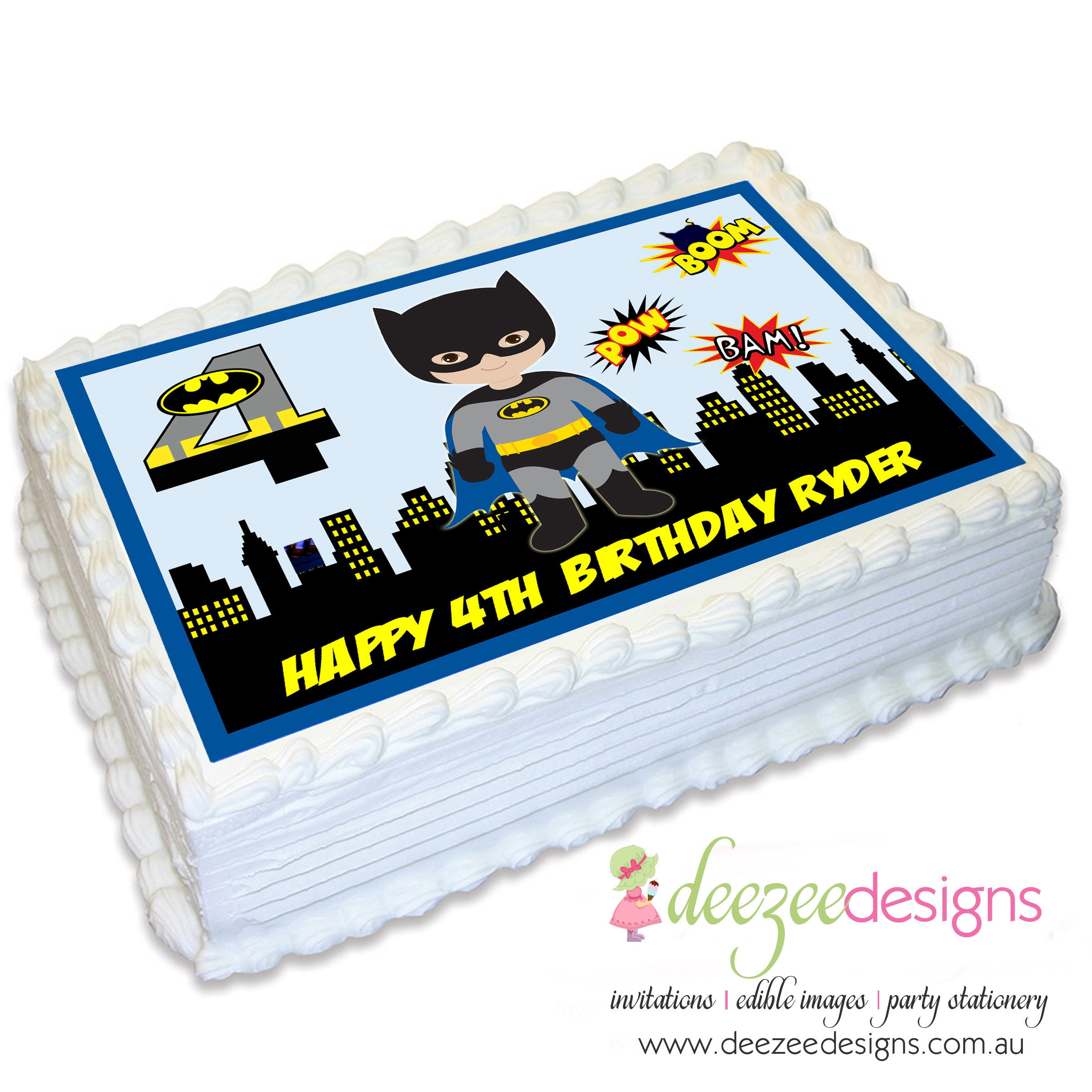 Batman Superhero A4 Edible Icing Cake Topper EI081A4