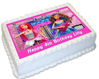 Barbie Rock & Royals Personalised A4 Edible Cake Topper