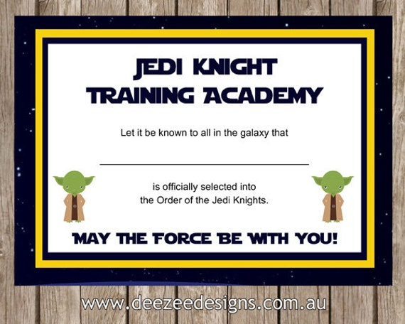 Printable Star Wars Jedi Certificate INSTANT DOWNLOAD | Etsy