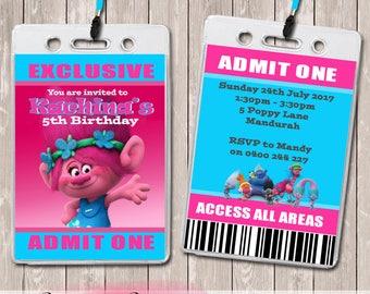Trolls Poppy Personalised VIP Lanyard Birthday Invitations x 10