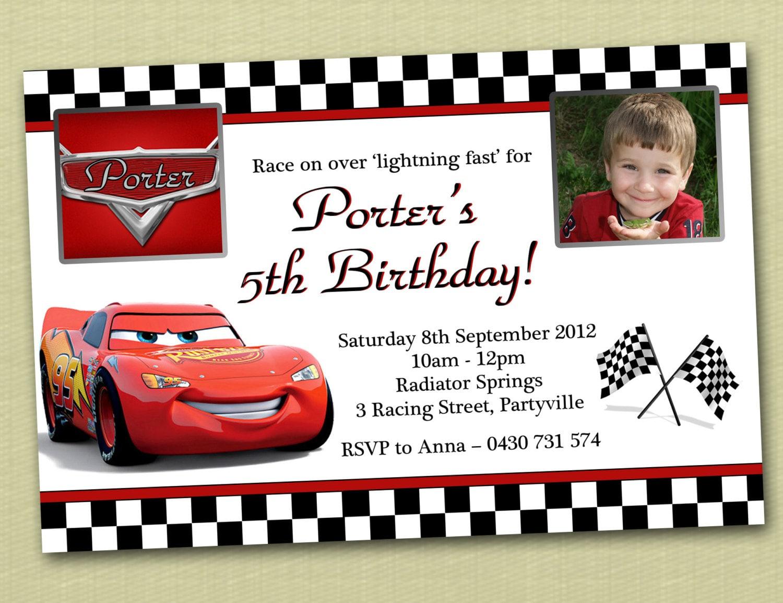Photo Personalised Cars Birthday Invitations You Print | Etsy