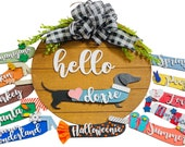 Hello Dachshund - Doxie - Weiner Dog - Interchangeable Holidays Seasons - Large Round Wooden Shiplap Door Hanger Wreath Sign