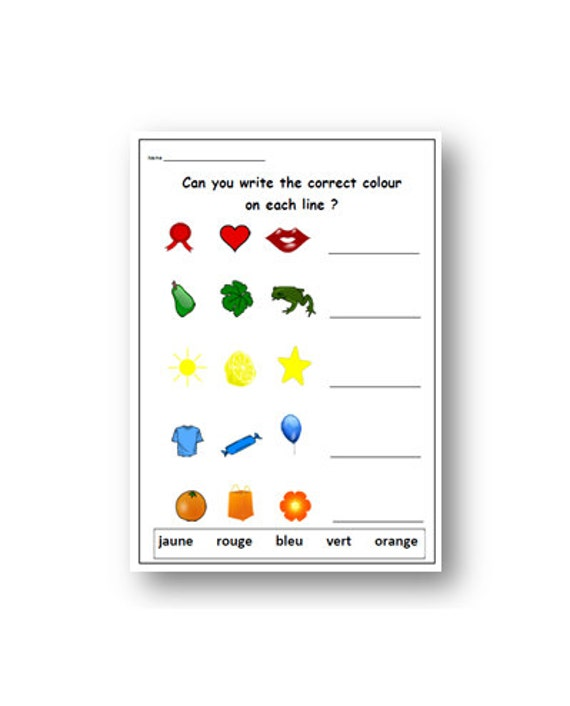 FRENCH EDUCATIONAL WORKSHEET to Learn Colours / Kids Worksheet / French  Teacher Worksheet / Homeschool Printable / French Classroom