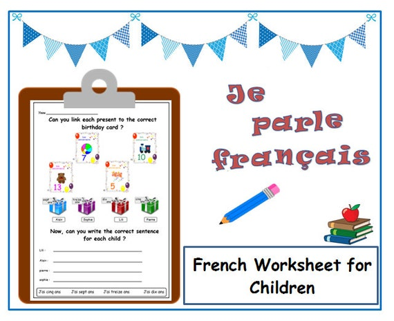 Birthday French Worksheet Matching And Writing Activities Etsy