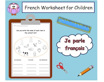 French Language Primary Resources / Lesson plans and Teaching Ideas / Animals Fruits & Clothes Vocabulary Worksheet/French Learning for Kids