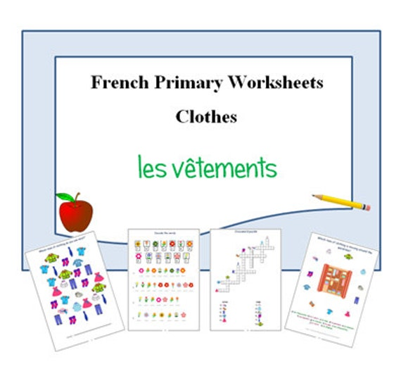 French Printable Activities To Learn Names Of Clothes Etsy