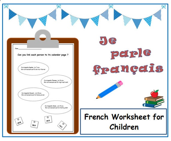 school worksheet to learn birthday dates in french activity etsy. Black Bedroom Furniture Sets. Home Design Ideas