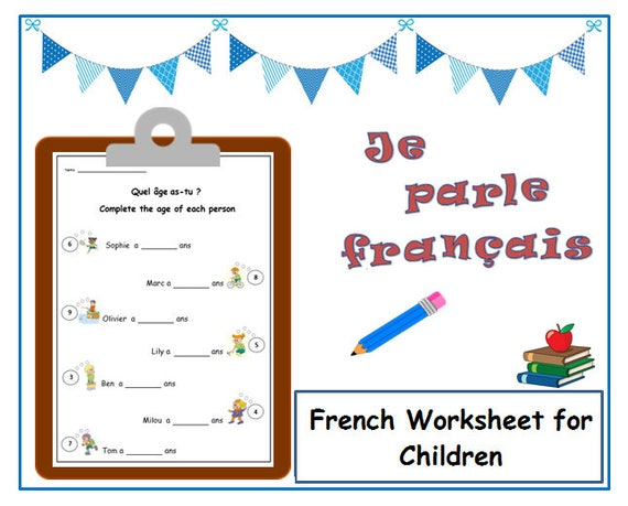 say your age french worksheetsimple writing exercise to help etsy. Black Bedroom Furniture Sets. Home Design Ideas
