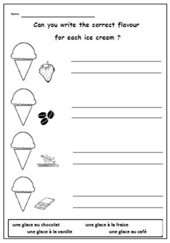FRANZÖSISCHE druckbare Eissorten mit dem Schreiben Übung /   Etsy