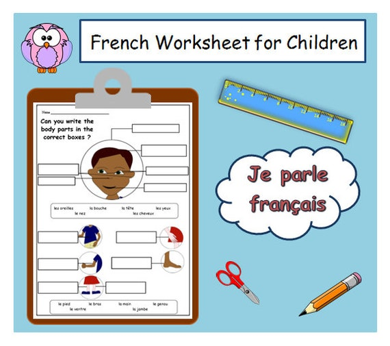 Parts Of The Body French Printable Worksheet French Learning Etsy