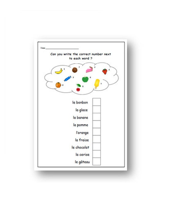 FRENCH Food Words WORKSHEET With Matching Activity/Printable French  Learning Exercise/French Sheet to Learn Food Items/Primary French Lesson
