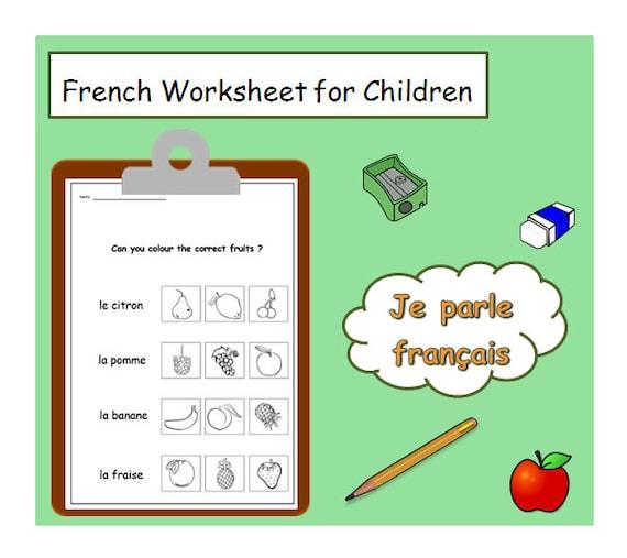 FRENCH for KIDS Fruits Words Language Worksheet / Kids Worksheet French  Printable / Fruit Topic Teacher Worksheet / Language Learning