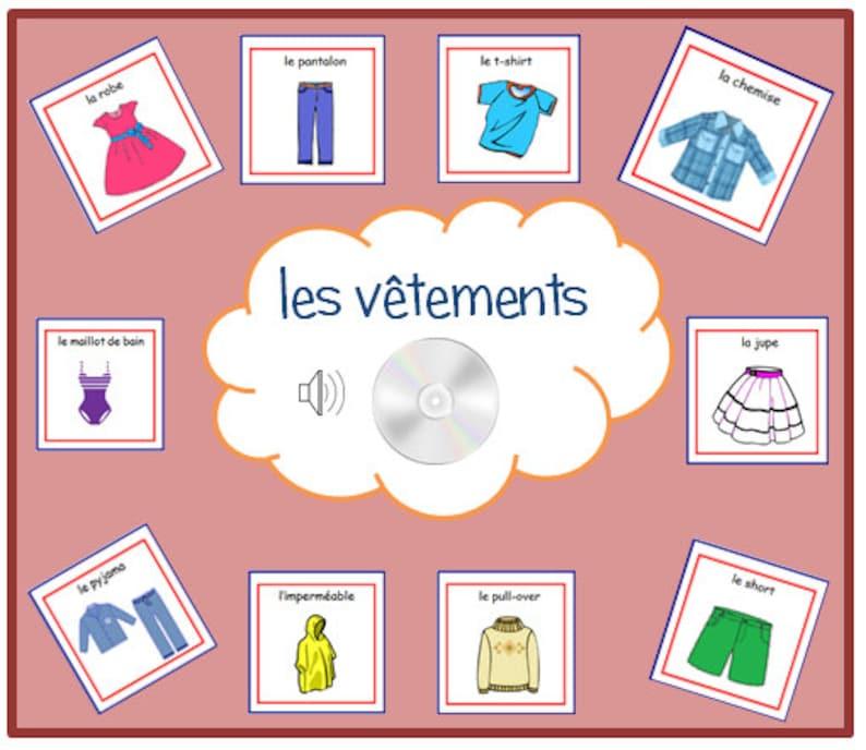 Bon Kleidung Französisch KARTEIKARTEN Mit Aussprache Auf | Etsy