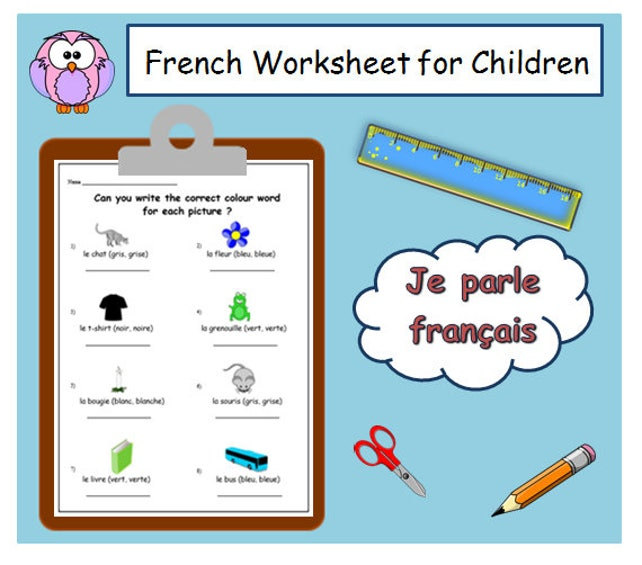 Colour Words French Worksheet With Masculine Feminine Etsy