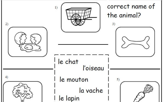 French Learning Animals Kids Activity French Printable Etsy