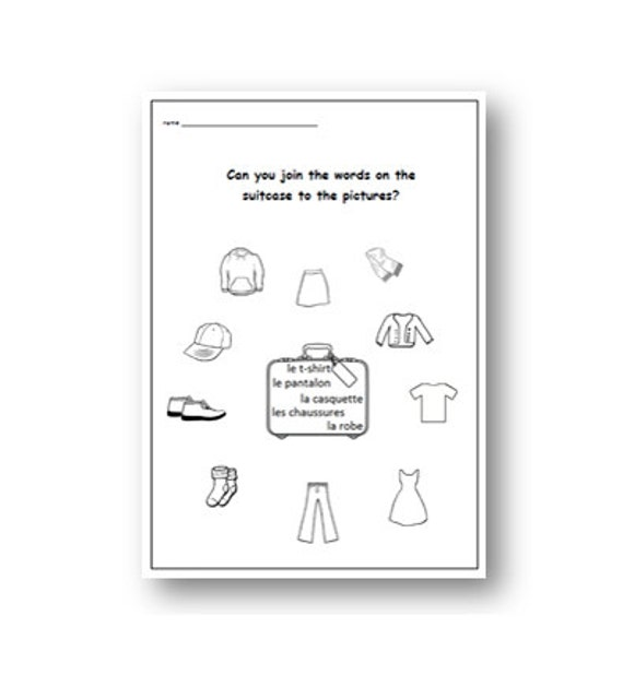 FRENCH TEACHER / Clothes Vocabulary / French Printable / Language Learning  / Classroom Worksheet / School Worksheet/ Classroom Worksheet