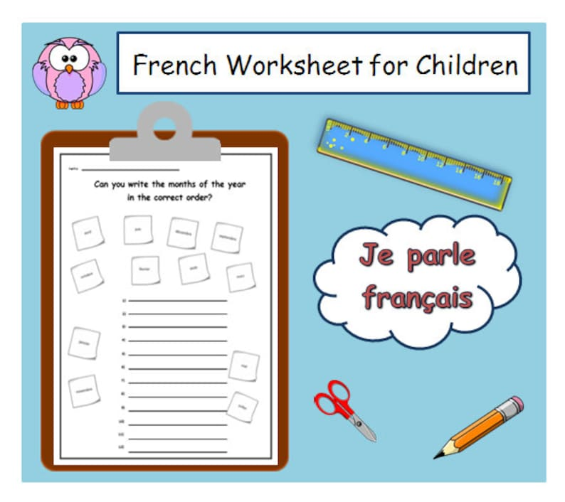 picture relating to Printable Months of the Year called FRENCH Instructor PRINTABLE Weeks of the 12 months Lesson Applications / French University Worksheet Schooling Components / French Language /French Instructor Reward