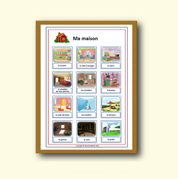 French Rooms Of The House Poster Educational School Poster Etsy