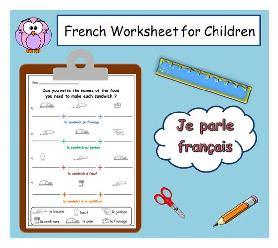 PRINTABLE for LEARNING FRENCH / Food Words Print for Language Student /  Teacher Worksheets / French Classroom Resource / School Printable