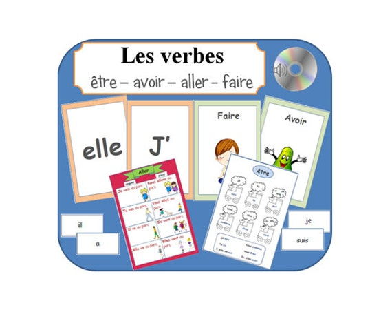 FRENCH IRREGULAR VERBS with Posters,Cards & Pronunciation on Audio  File-Classroom Activities-School Cards-Educational Resources-Learn French