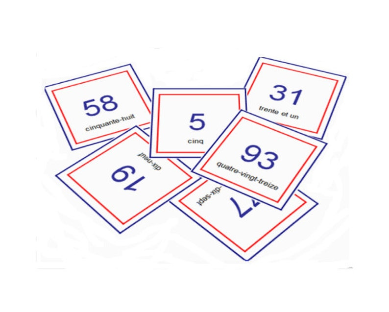 FRENCH NUMBER FLASHCARDS 1/100 with Pronunciation on Audio File,Numbers  Printable,Number Cards,Educational Flashcards,French Language Cards