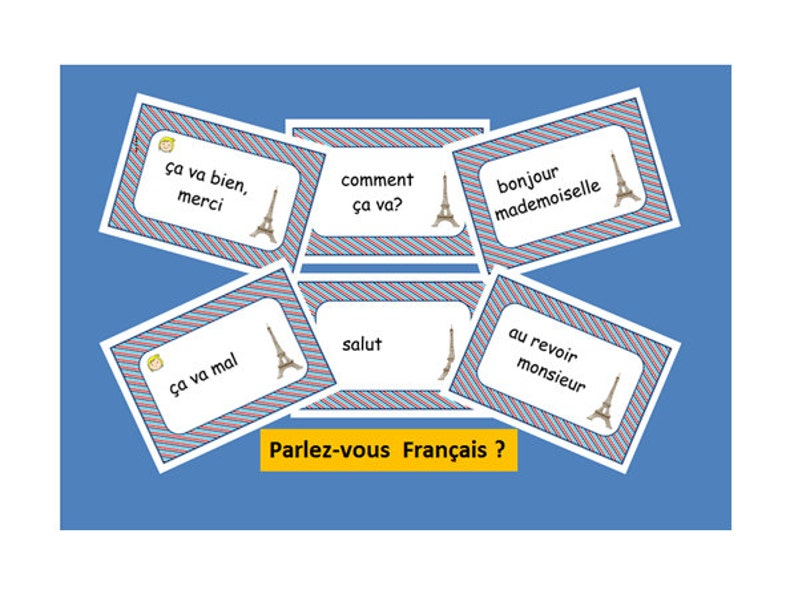 GREETING CARDS in FRENCH,Primary French conversation prompts,French  Teacher's Resources,Greeting Activity,Learning Activity,French Words