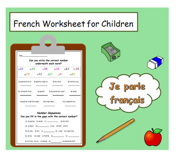 Learn FRENCH NUMBERS with School WORKSHEET / Matching & | Etsy