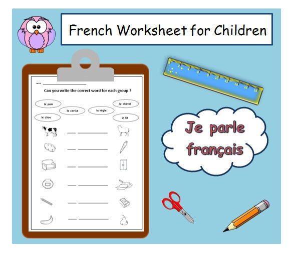 learn basic french vocabulary with school worksheet matching etsy. Black Bedroom Furniture Sets. Home Design Ideas