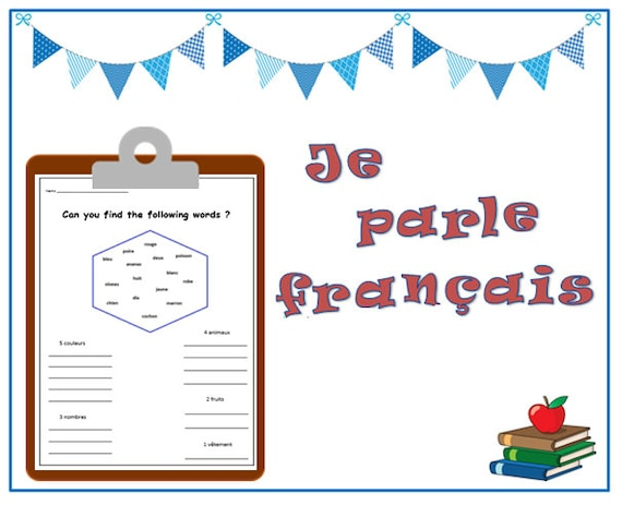 FRENCH LANGUAGE WORKSHEET / printable french words / teaching resources  printable / kids learning printables worksheets / Learning Print