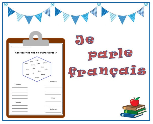 french language worksheet printable french words teaching etsy. Black Bedroom Furniture Sets. Home Design Ideas