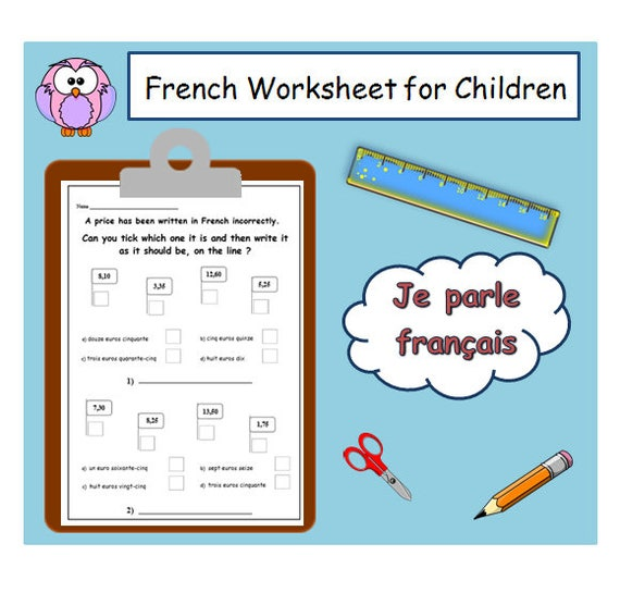 FRENCH LEARNING Numbers Worksheet KIDS Activities Printables / Etsy