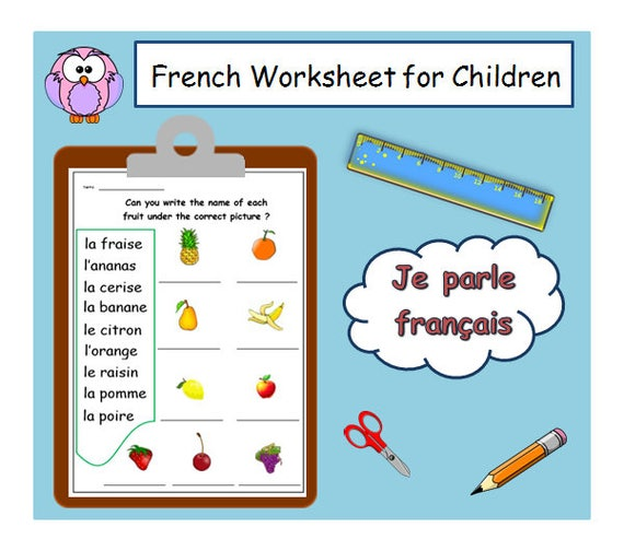 Kids Worksheet for Learning French Names of Fruits / French | Etsy