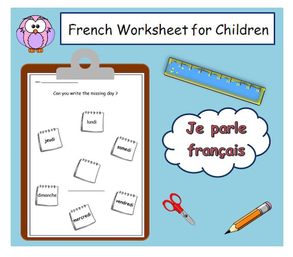 graphic relating to Days of the Week Printable called Times of the 7 days FRENCH Studying with Language Printable / Enlightening Supplies For French Clroom / Game Printable French for Children