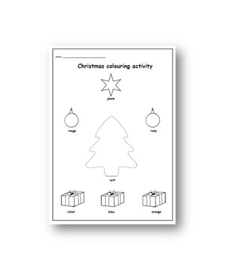 CHRISTMAS FRENCH WORKSHEET,Christmas Colouring,Christmas Printable Resources,Christmas Activity,Christmas Print,Christmas Fun for Kids