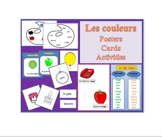 Francés color tarjetas y carteles Language Pack imprimible   Etsy