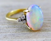 Vintage 3.12 Carat Opal and Diamond Engagement Anniversary Ring 14kt Yellow Gold