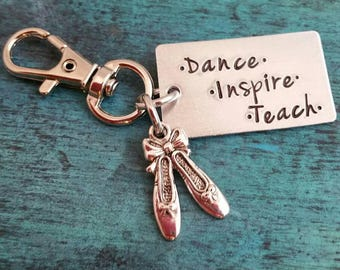 Keychain, Dance Teacher Gift, Ballet,  Jazz, Teach and Inspire, End of Year Gift, Dance Recital Gift, Personalized Gift for Dance Teacher