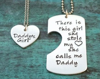 Daddy Daughter Necklace Set or Keychain, There is this Girl, Boy, Father's Day Gift, Daddy's Girl, Christmas, Mother's Day Present, Grandpa