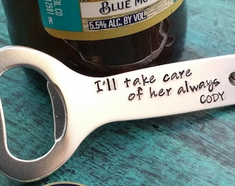 Father of the Bride Gift from the Groom, Personalized Bottle Opener, Gift from Soon to Be Son in Law, Wedding Gift, Custom Gift