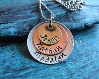 Family Stack, Personalized, Custom, Mixed Metal Necklace, Personalized Multiple Disc Necklace, Mommy Necklace