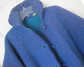 Vintage Wool Purple and Green Button Poncho Made in Bogota Colombia